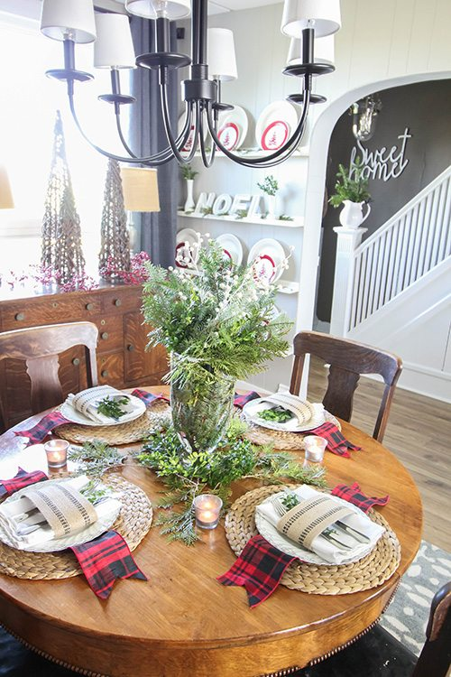 Backyard Christmas Greenery - In the dining room!