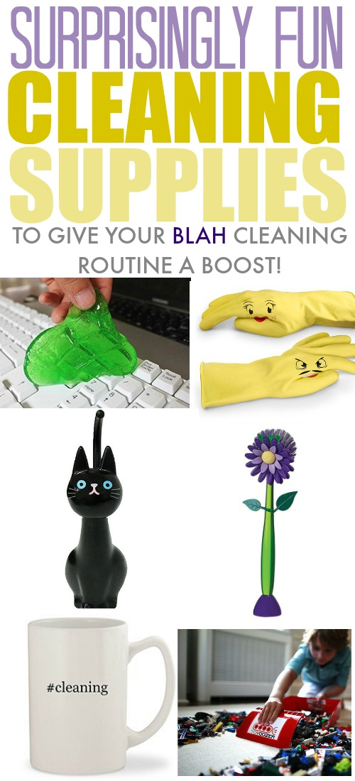 "Fun cleaning supplies to shake up your ""blah"" cleaning routine!"