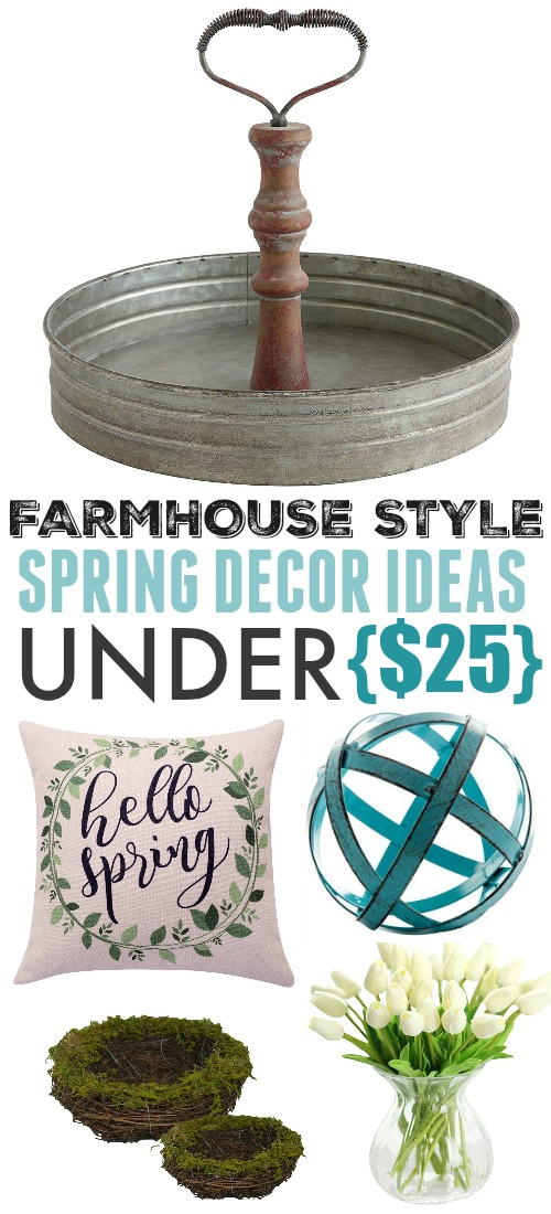 Spring is coming and it's time to celebrate! Check out these fun farmhouse style spring decor ideas that you can use to refresh and spring-ify your home for under $25!
