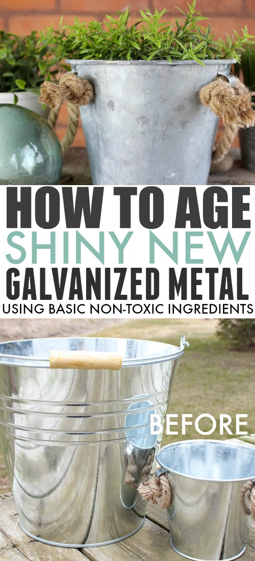"Old galvanized metal can be so beautiful and so full of character. There are many ways to quickly ""age"" shiny new galvanized metal, but a lot of them use scary harsh chemicals so they didn't appeal to me so much. Read on to see how I age galvanized metal containers quickly using just basic household ingredients!"