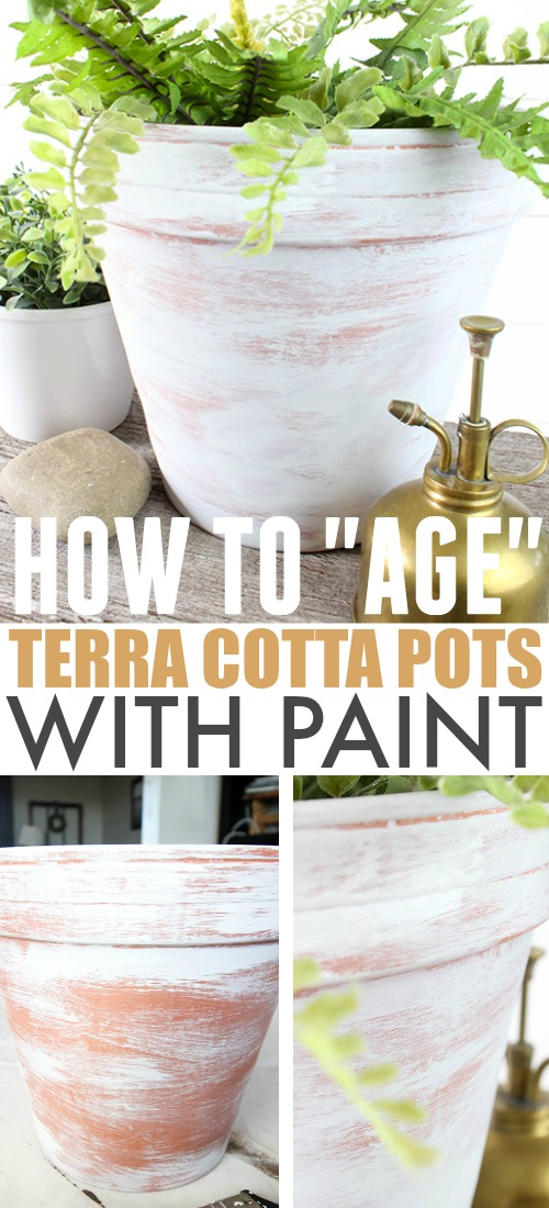 Using aged terra cotta pots is a great way to bring farmhouse style to your porch, deck, or garden. If you don't have time to wait for your pots to age naturally, try this tip for how to age terra cotta pots with paint instead!