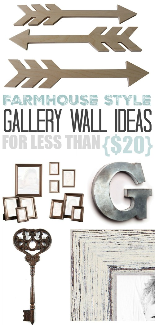 A gallery wall is such a great way to bring personality and warmth to your home decor. They may look elaborate, but that doesn't mean they have to cost a lot! Here are some of my favorite farmhouse style gallery wall ideas for less than $20!