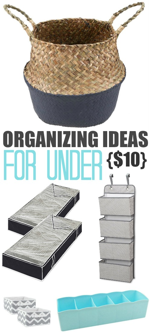 Inexpensive storage solutions can make such a difference when it comes to how well a room functions. These organizing ideas are all under $10!