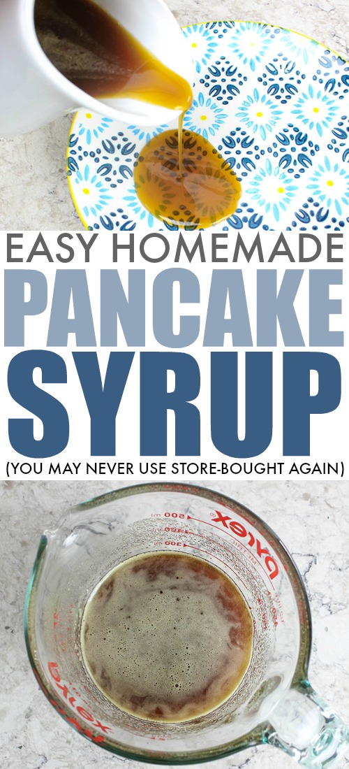 How to make your own homemade pancake syrup if you ever run out! This recipe is great to know about for those days when you wake up and decide last-minute to make a big batch of pancakes. You may find that you even like it better than store-bought syrup!