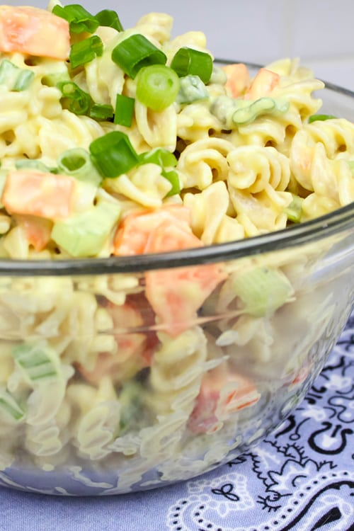 Try this classic pasta salad recipe when you want to make something that you know everyone will love! This is our friends' and family's favourite pasta salad.