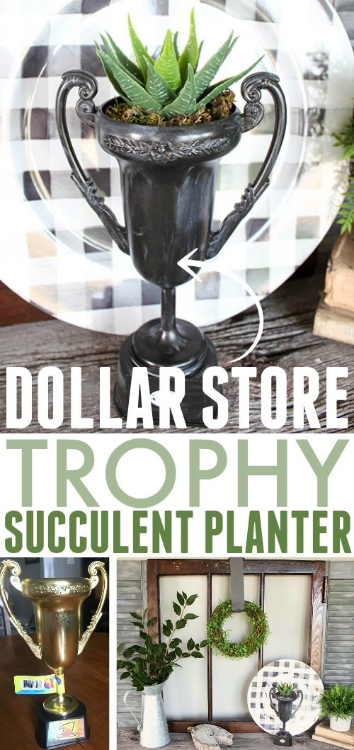 There are so many fun farmhouse style decor possibilities at the dollar store if you just use a little creativity! This dollar store trophy planter is one of my favourite ones yet!