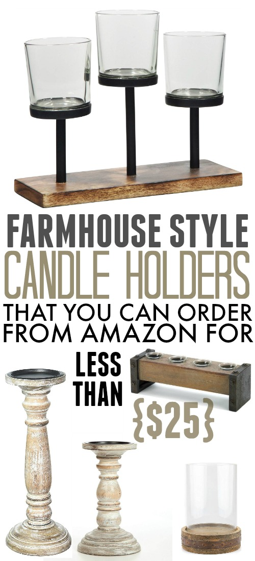 These farmhouse style candle holders will bring a rustic touch to your home decor and they're all available for under $25!