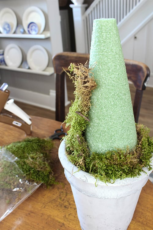 Topiaries are a classic of farmhouse style home decor and work beautifully for any season. Here's how to make your own farmhouse style DIY moss topiaries!