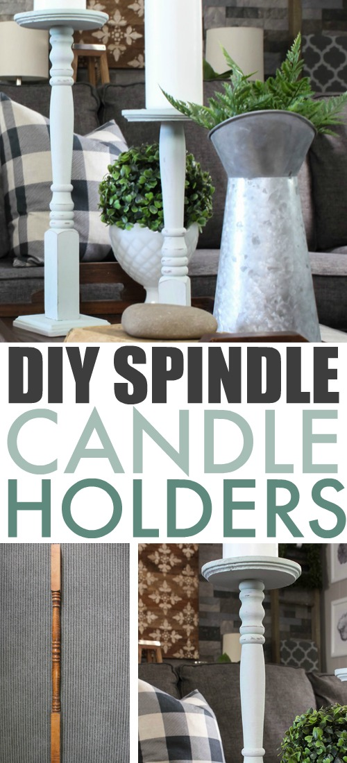These DIY spindle candle holders are the perfect project for an old broken spindle! These come together quickly and easily with the help of some pre-cut wood pieces from the craft store!