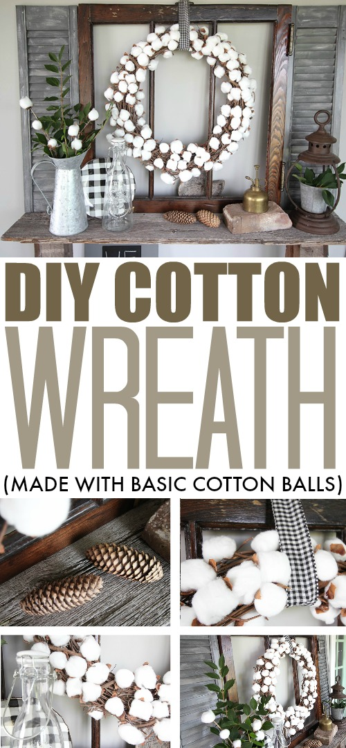This DIY cotton wreath made with cotton balls is a great project that allows you to make a classic fall wreath for a tiny fraction of the cost of buying one pre-made.