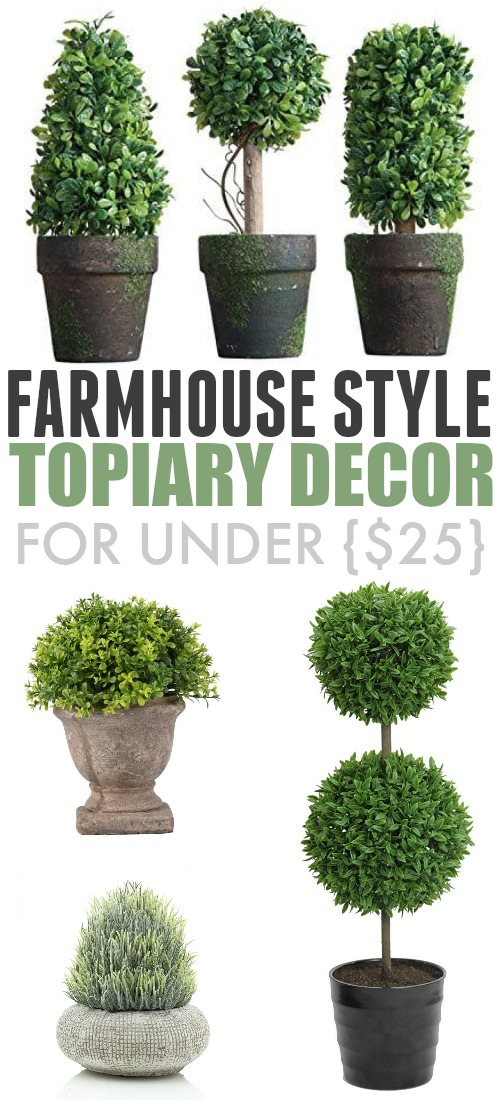 If you like a classic farmhouse look to your home, then some farmhouse style topiary decor is definitely an essential. Here are some great options for under $25!