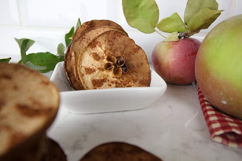 These simple baked apple chips are a great healthy snack to make this fall with all of the extra apples that you have leftover from apple picking. No fancy equipment required!