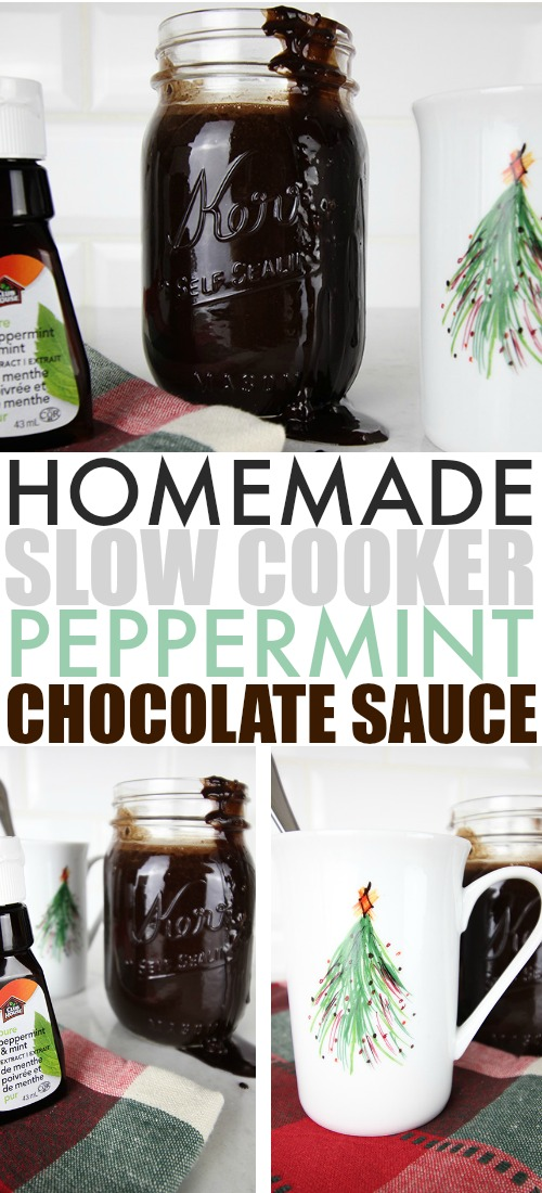 Peppermint hot chocolates and peppermint mochas are an absolute must have at this time of year, and this slow cooker chocolate peppermint syrup will make it fun and easy to prepare both for your holiday guests!