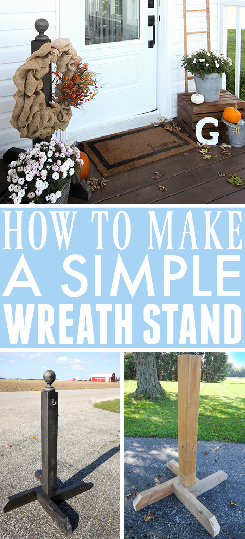 This DIY wreath stand is a perfect solution if you don't want to hang a wreath on your door, but you still want to be able to display a wreath on your porch.