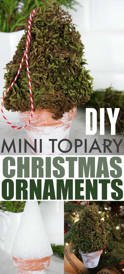 Make these mini topiary Christmas ornaments this year for a fun and unique way to incorporate farmhouse style into your Christmas tree! A great gift idea for the gardener in your life as well!