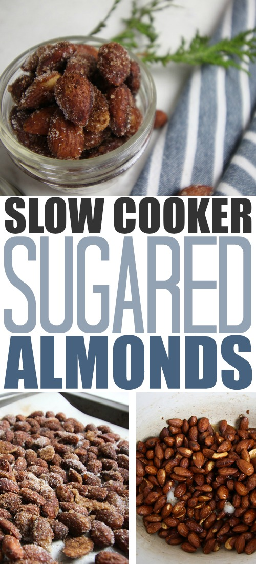 These slow cooker sugared almonds are the perfect little snack to put out for just about any occasion throughout the holidays! These make a great easy hostess gift as well!