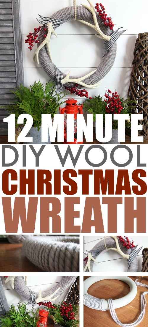 This DIY wool Christmas wreath is a fun, simple way to make your own Christmas wreath for your front door this year! Whip one up in a few minutes then add whatever embellishments you like!