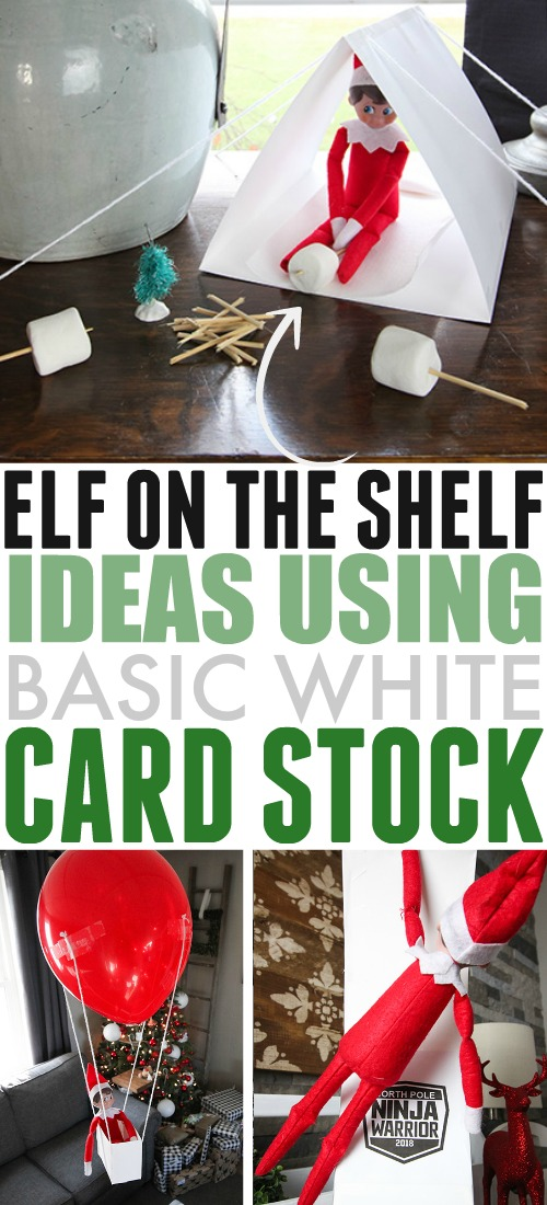 Here are some simple card stock elf on the shelf ideas that your elf can easily build for himself if he runs out of ideas for places to hide! All you need to have in the house for him is a little bit of basic white card stock to help him get started!