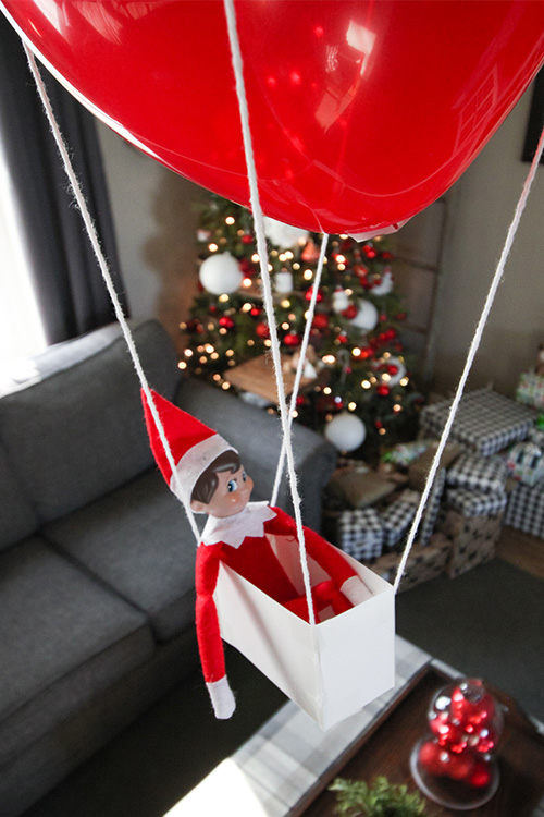 Card Stock Elf on the Shelf Ideas: Hot Air Balloon