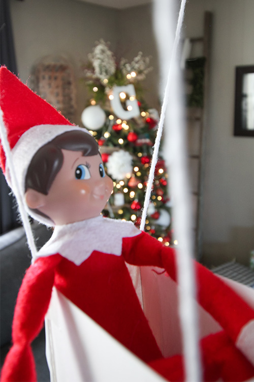 Card Stock Elf on the Shelf Ideas: Floating Balloon Ride