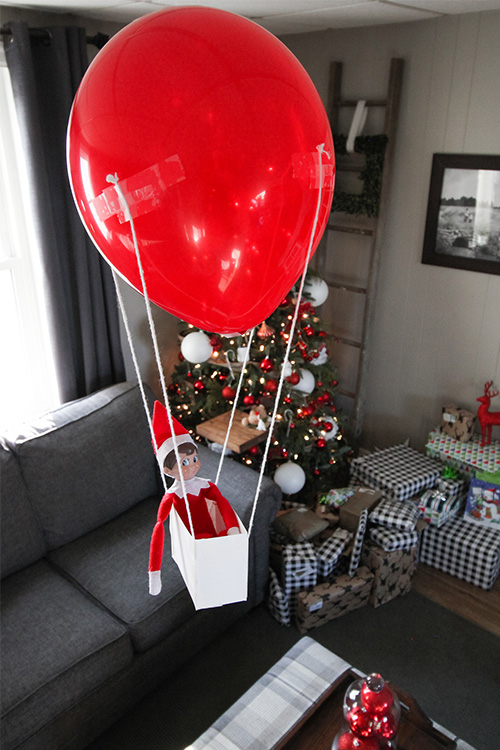 Card Stock Elf on the Shelf Ideas: Card Stock Hot Air Balloon Basket