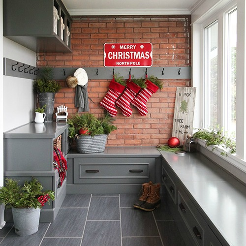 Christmas mud room