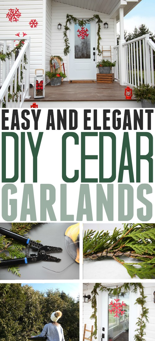 DIY cedar garland is such a classic and elegant choice for your Christmas decor, indoors or out. If you happen to have some cedar trees growing in your backyard, it's a project that's surprisingly quick to put together and super inexpensive!