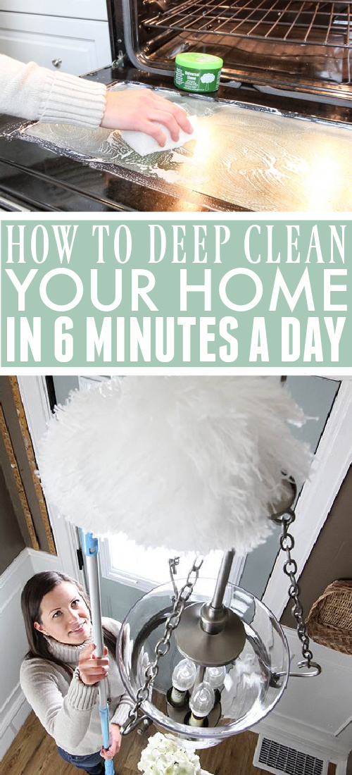 The clever way to deep clean your home! Get a sparkly clean home in just 6 minutes a day and never lose an entire week to cleaning your home again!