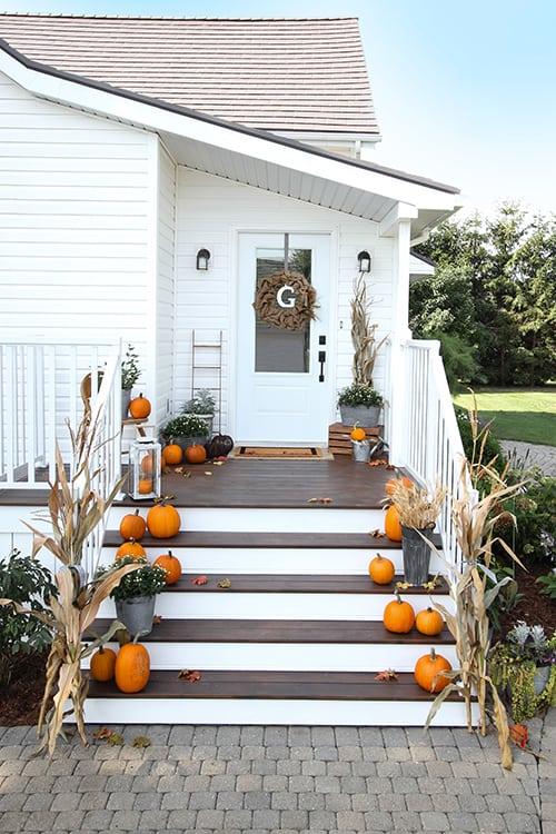 Fall farmhouse porch decor