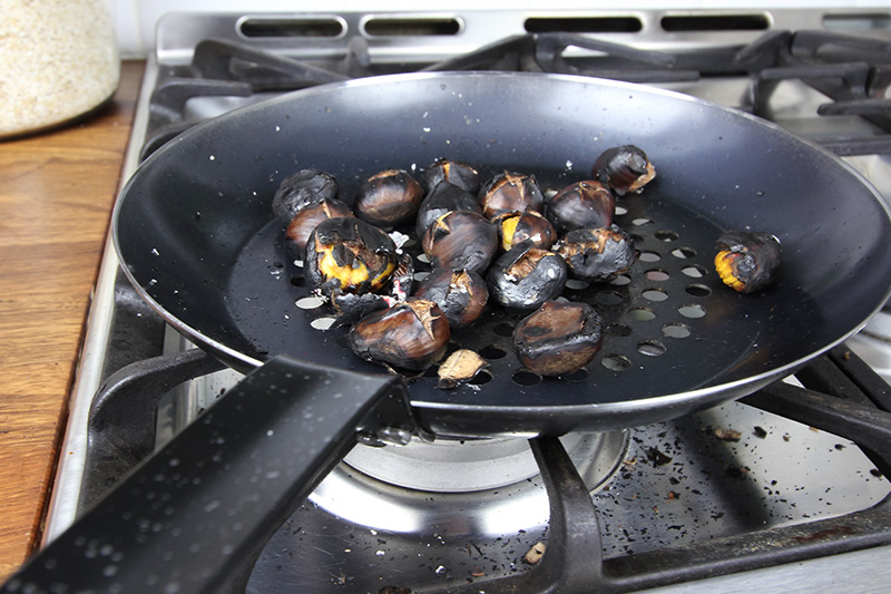 You don't need an open fire to enjoy this delicious festive treat! Here's how to roast chestnuts on the stove. Singing of the Christmas Song is encouraged!