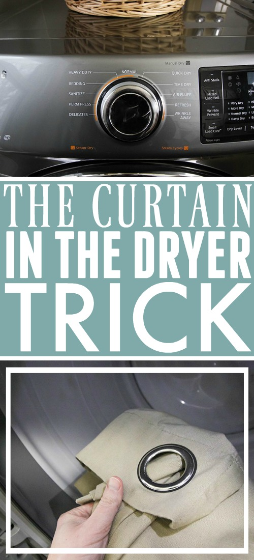 """This curtain in the dryer trick makes so much sense that it will make you ask """"Why didn't I think of that?"""" Try this one out the next time your drapes need freshening up!"""