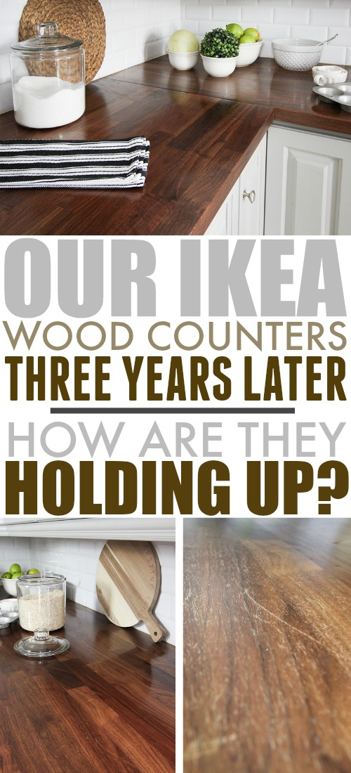 Many people are surprised to hear that our beautiful wood counters are actually from IKEA. Here's an update on how our IKEA wood counters are holding up three years after we installed them.