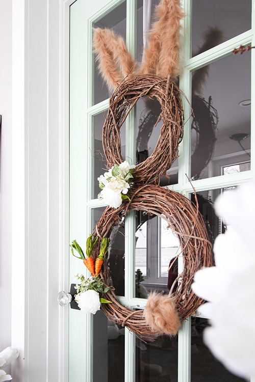 This easy, affordable DIY Easter bunny wreath is the perfect little project to make to welcome spring to your front porch!