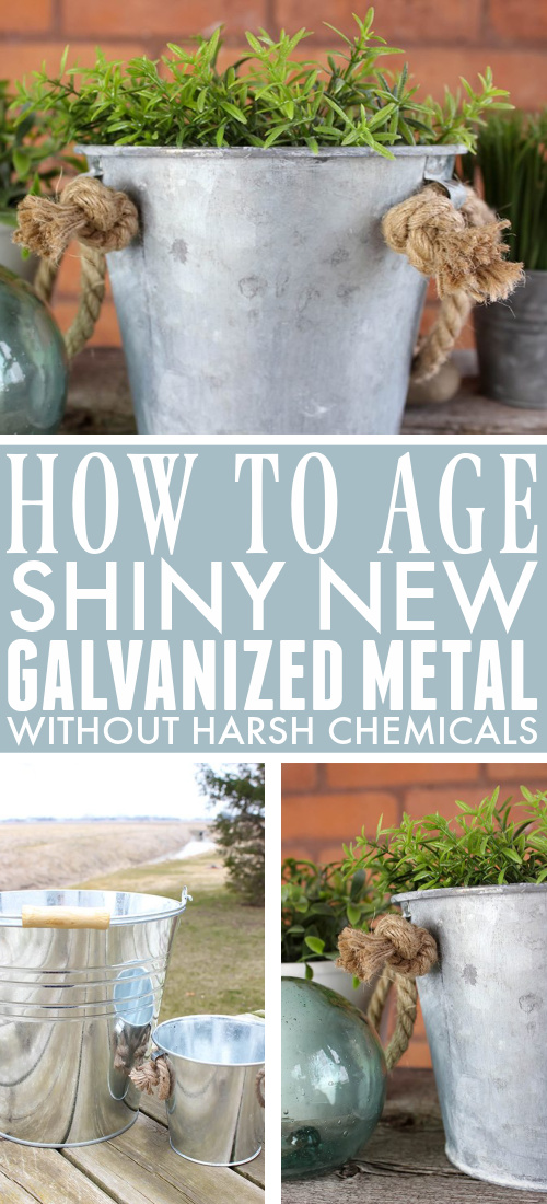 """Old galvanized metal can be so beautiful and so full of character. There are many ways to quickly """"age"""" shiny new galvanized metal, but a lot of them use scary harsh chemicals so they didn't appeal to me so much. Read on to see how I age galvanized metal containers quickly using just basic household ingredients!"""