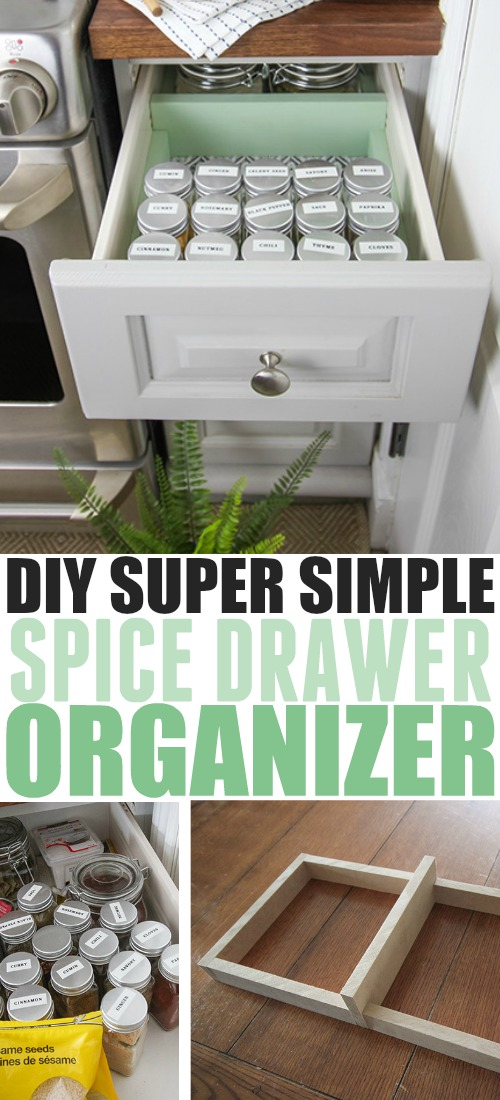 We created this super simple DIY spice drawer organizer to try to tame our jumble of different sizes of bags and bottles of herbs and spices. Not only does it look so much better, it's now much easier to find what I need exactly when inspiration strikes!