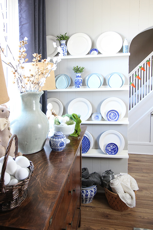 I thought today would be a good opportunity to go into a little more detail about how I put together the inexpensive plate wall in the dining room that has become such a focal point in there.