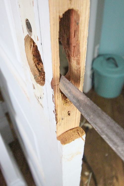 Restore Old Doors - Cut new bore holes