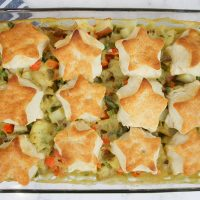 Plant-Based Veggie Pot Pie With Biscuit Topping
