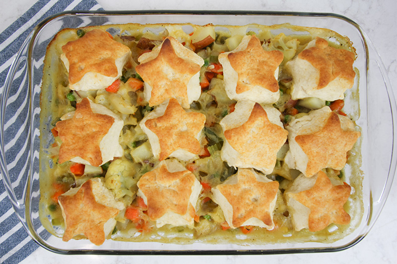 Try this easy, plant-based comfort food veggie pot pie recipe for a cozy weeknight meal or even for your next potluck event!