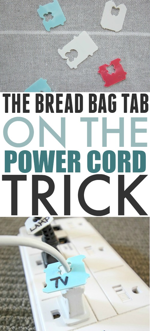 Recycle those bread bag tabs to label your power cords and help solve two problems at once!
