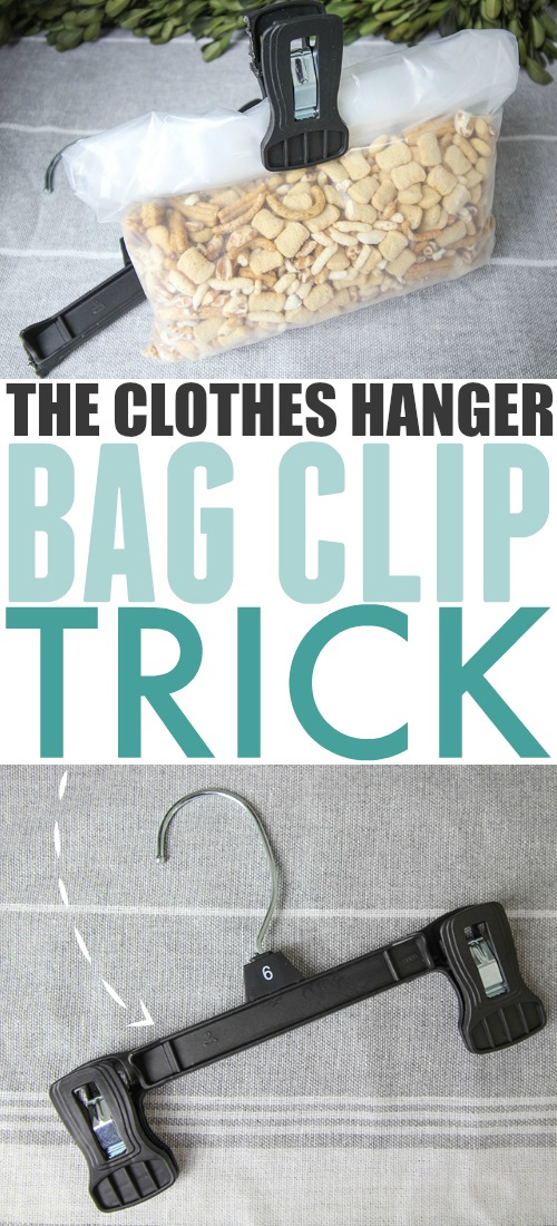 This clothes hanger bag clip trick allows you to reduce the amount of waste and recycling that you create while keeping your kitchen cupboards cleaner and tidier!