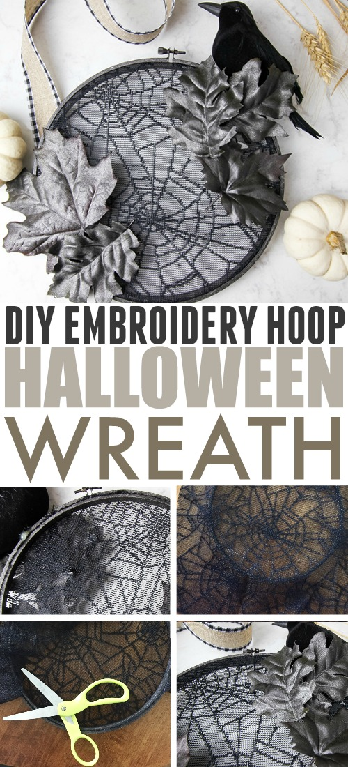 This embroidery hoop halloween wreath will help set a spooky tone for those coming up to your house and can be made with supplies from the dollar store!