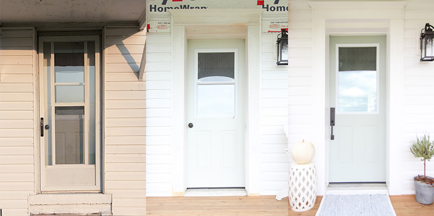 There are so many things that you can do to update a front door without having to completely replace it! Here's what we did with ours!