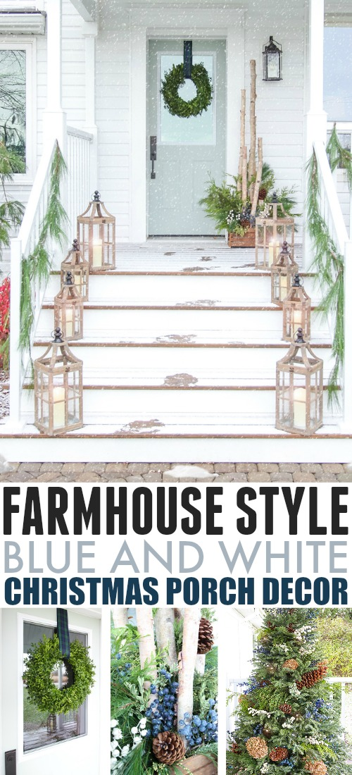 In this post, I get to show off our new front porch alone with the subtle blue and white Christmas porch decor that I chose for its first Christmas!