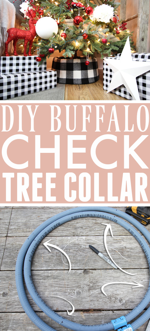 This DIY buffalo check tree collar was made with very basic hardware store supplies and fabric. You can use any fabric you like to make your own tree collar for under $10!