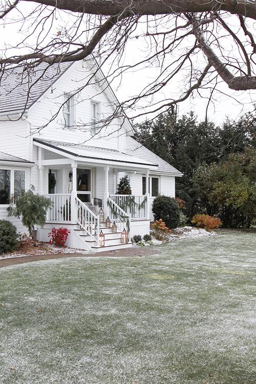 Blue & White Christmas Porch