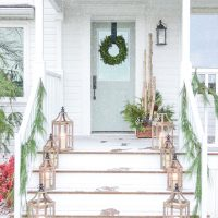 Blue and White Christmas Porch Decor