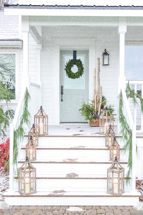Blue & White Christmas Porch