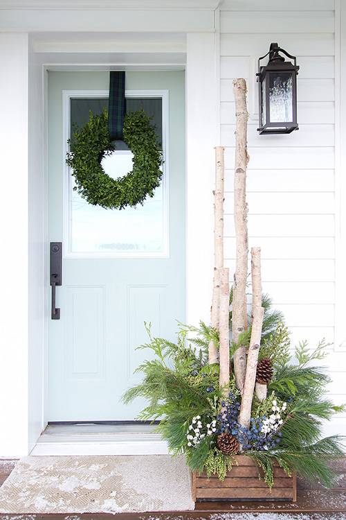 DIY Birch in Box - Front Door Decor