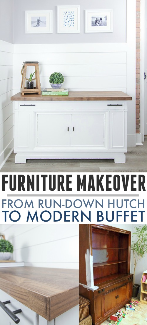 In this post I'll show you how we updated our old-fashioned hutch and turned it into a sleek, modern buffet for our kitchen.